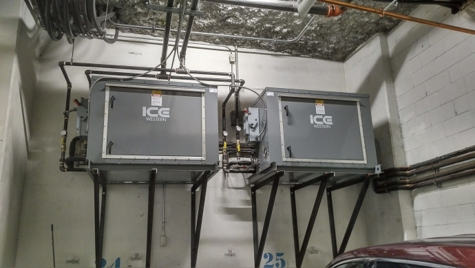 New Water Cooled Condensing Units for Atelier Parkade Electrical Vault
