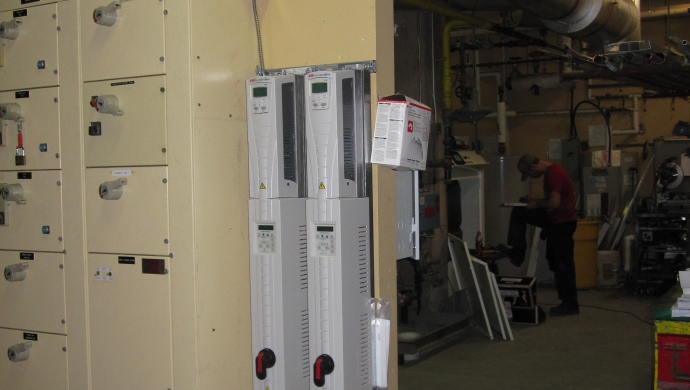 New Boiler Distribution Pump VFD's now run 15 HP pumps as low as 1 HP at low loads.